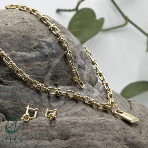 سرویس طلا زنجیر درشت با قفل